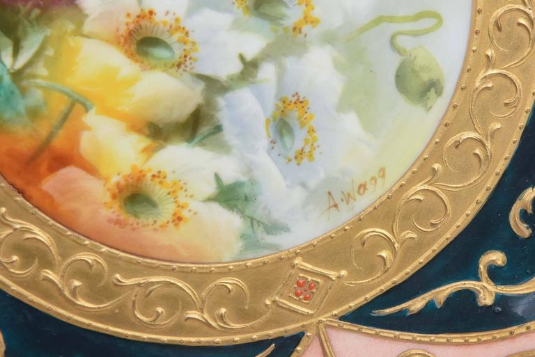 English Exquisite and Elaborate Cabinet or Display Plates Pair, Fine Art Gilt Encrusted For Sale