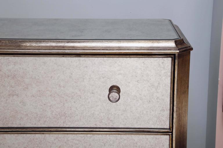 Modern Vintage, Pair of Mirrored Dressers, Silver Finish, Mirrored on Three Sides For Sale