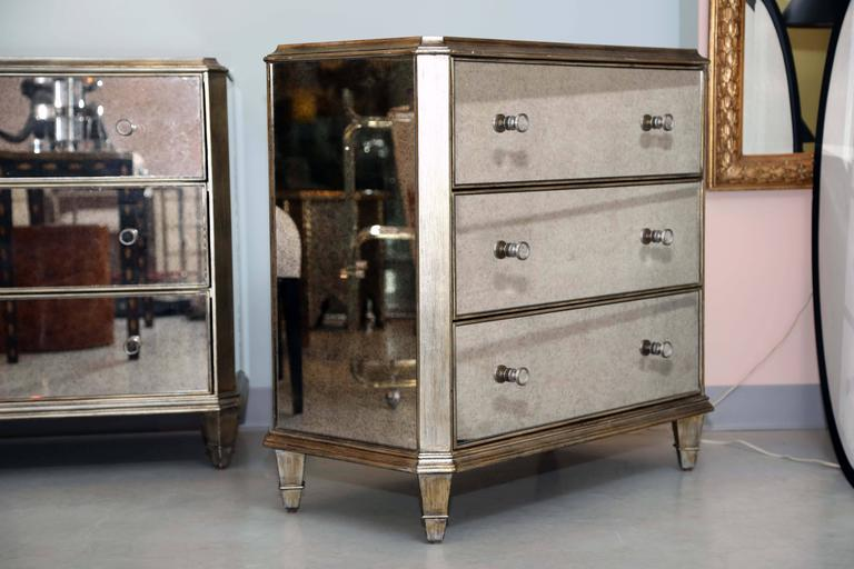 Vintage, Pair of Mirrored Dressers, Silver Finish, Mirrored on Three Sides 6