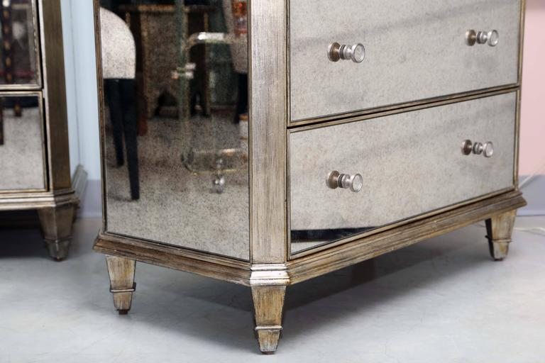 Vintage, Pair of Mirrored Dressers, Silver Finish, Mirrored on Three Sides For Sale 1