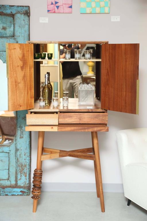 Organic Modern Bar Cabinet, Artisanal, Handcrafted Mexico Cedar and Tzalam Wood, Maison Object For Sale