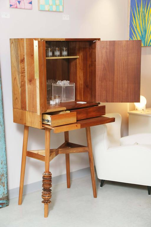 North American Bar Cabinet, Artisanal, Handcrafted Mexico Cedar and Tzalam Wood, Maison Object For Sale