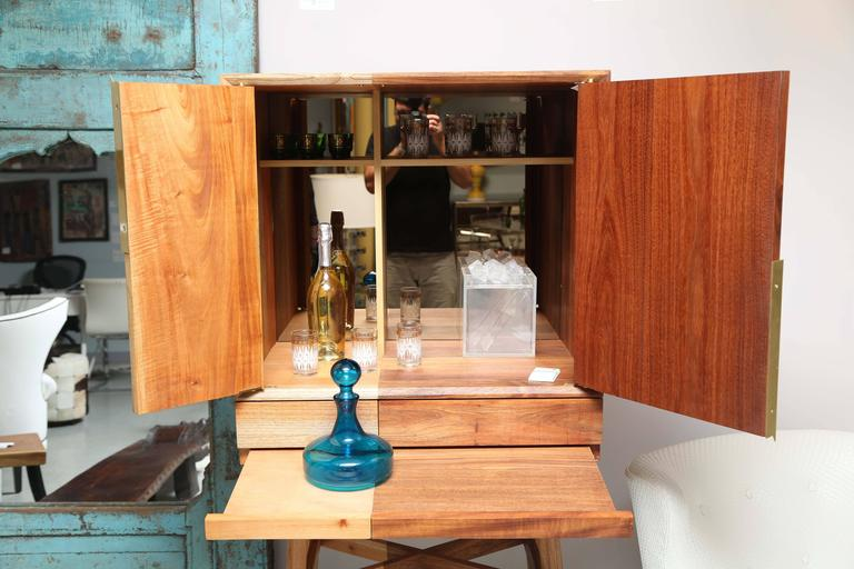 Bar Cabinet, Artisanal, Handcrafted Mexico Cedar and Tzalam Wood, Maison Object In Excellent Condition For Sale In Miami, Miami Design District, FL
