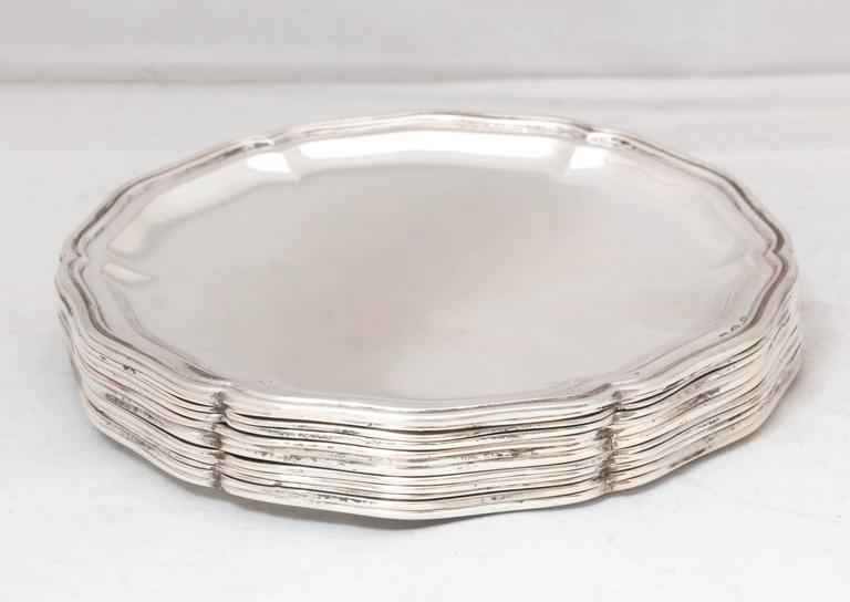 Victorian Set of 12 Austrian Continental .800 Silver Bread and Butter/Salad Plates For Sale
