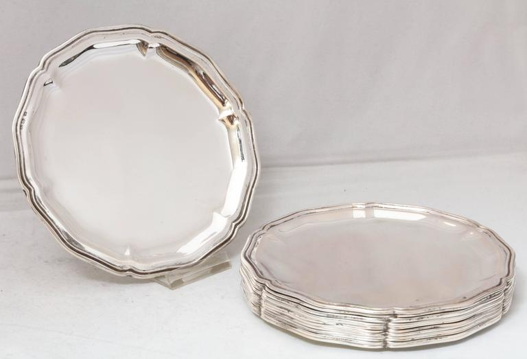 Set of 12 Austrian Continental .800 Silver Bread and Butter/Salad Plates For Sale 4
