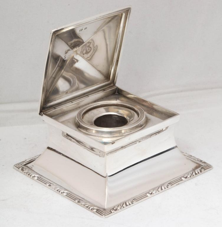 English Edwardian Sterling Silver Inkwell For Sale
