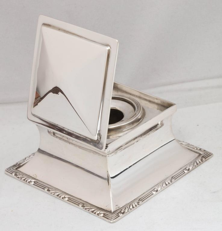 Edwardian Sterling Silver Inkwell For Sale 2