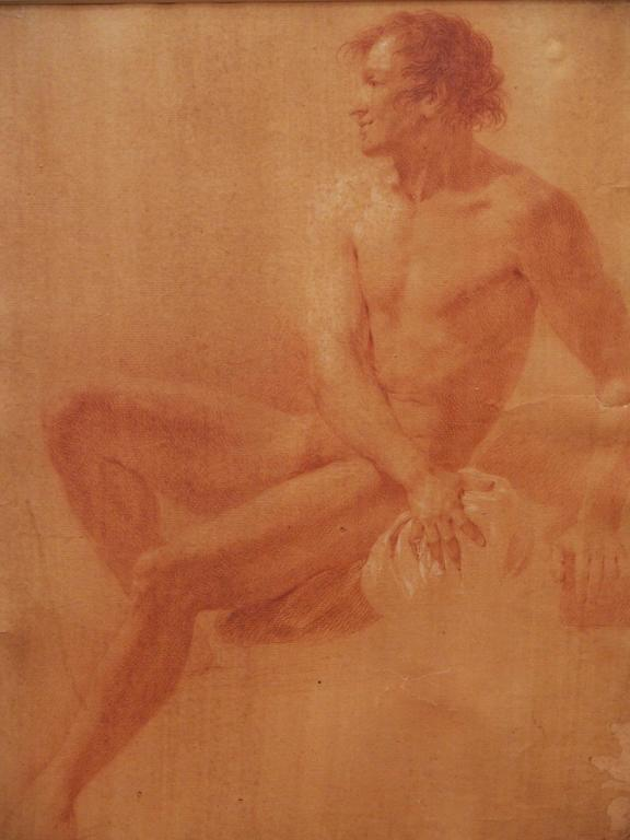 Set of four Sanguine drawings of male nudes in 18th century faux bois and gilt frames.  Matting is contemporary custom French mat.