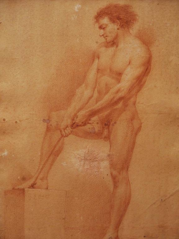 French Set of Four 17th Century Sanguine Drawings of Male Nudes For Sale