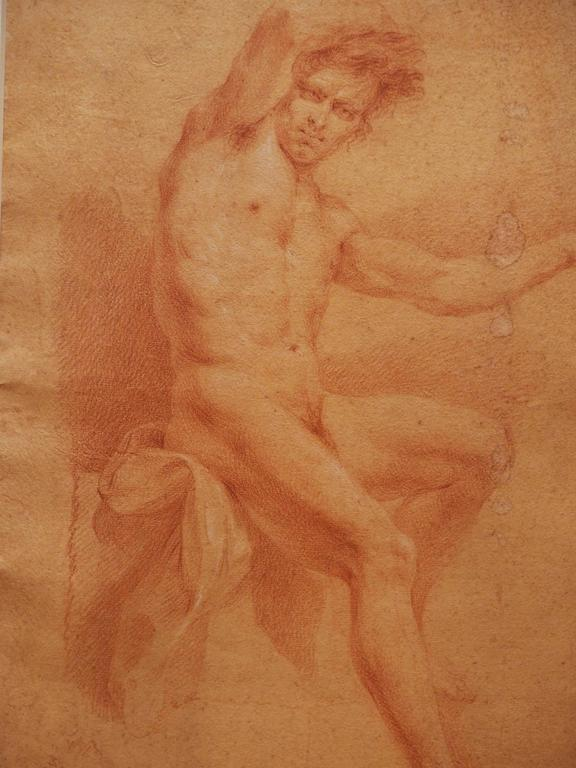 Set of Four 17th Century Sanguine Drawings of Male Nudes In Good Condition For Sale In New Orleans, LA