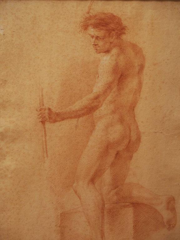Set of Four 17th Century Sanguine Drawings of Male Nudes 5