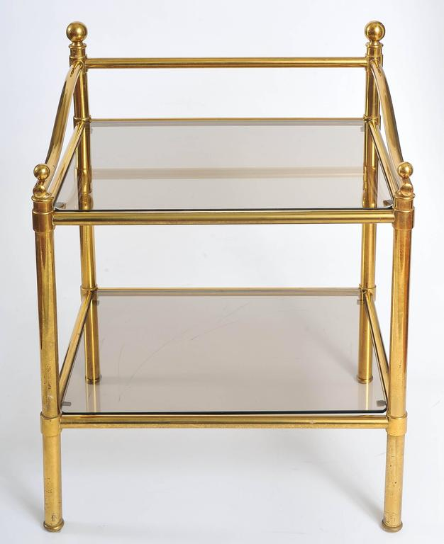 Pair of Italian 1950s Brass and Glass Side Tables In Excellent Condition For Sale In London, GB