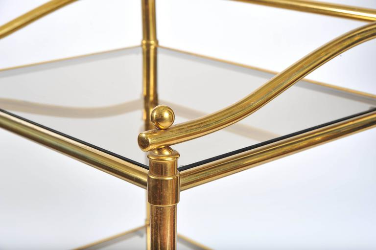 Mid-20th Century Pair of Italian 1950s Brass and Glass Side Tables For Sale