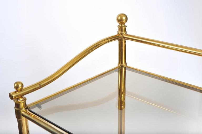 Pair of Italian 1950s Brass and Glass Side Tables For Sale 1
