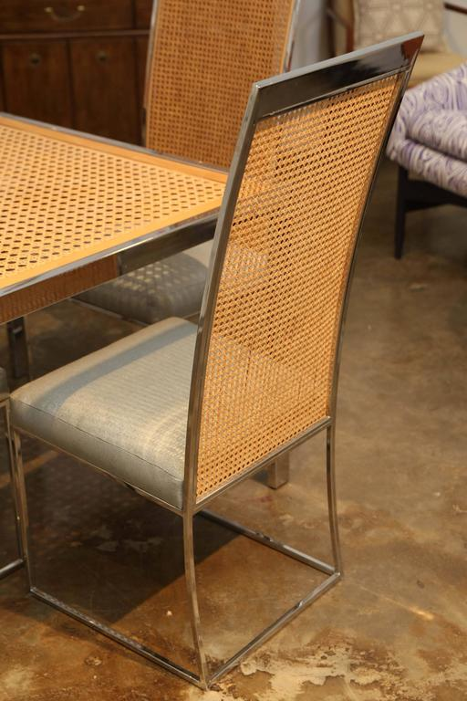 American Mid Century Modern Chrome, Glass And Wicker Game Or Dining Table  For Sale