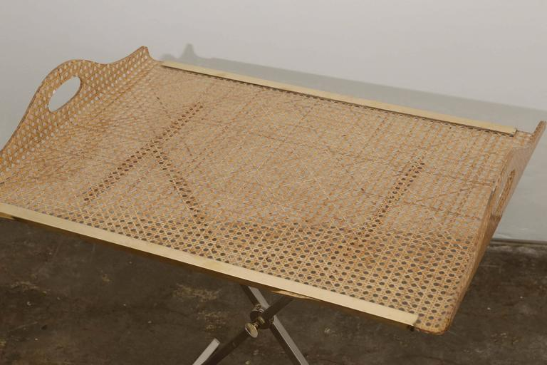 20th Century Dior Home Natural Cane Encased in Resin with Brass Accents Butler's Tray / Table For Sale