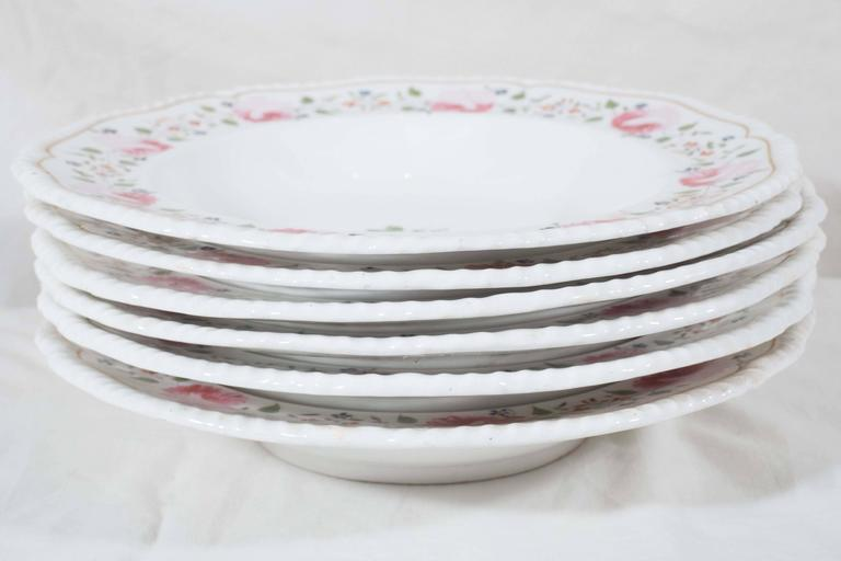 Antique Staffordshire Soup Dishes Decorated with Pink Roses In Excellent Condition For Sale In New York, NY