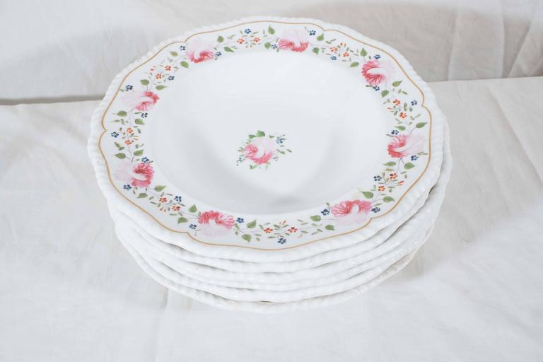 19th Century Antique Staffordshire Soup Dishes Decorated with Pink Roses For Sale