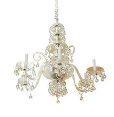 French 1960s Six-Light Crystal Chandelier
