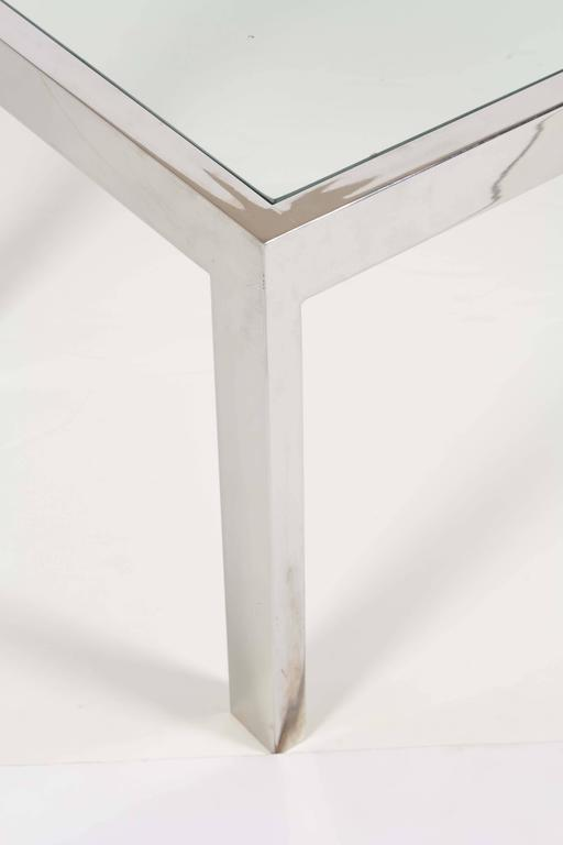 1970s Glass Top Chrome Coffee Table  In Good Condition For Sale In New York, NY