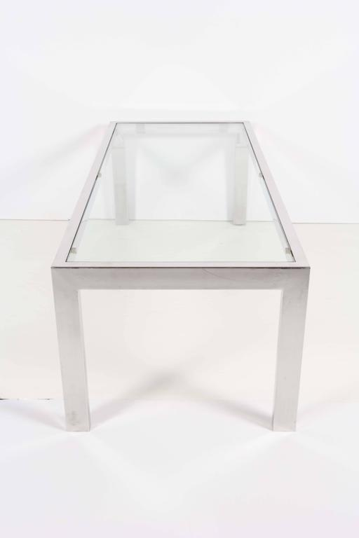 Late 20th Century 1970s Glass Top Chrome Coffee Table  For Sale