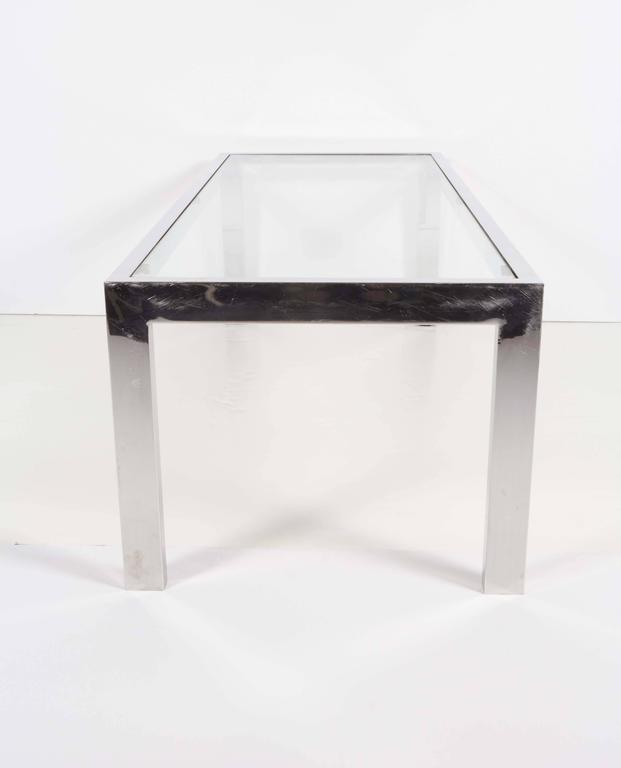 1970s Glass Top Chrome Coffee Table  For Sale 1