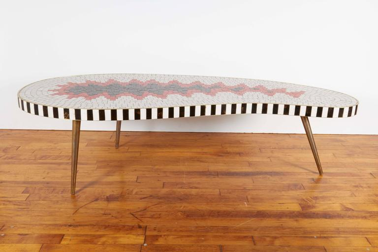 A Kidney Form Coffee Table Circa 1960s With Mosaic Top Composed Of Glazed Ceramic