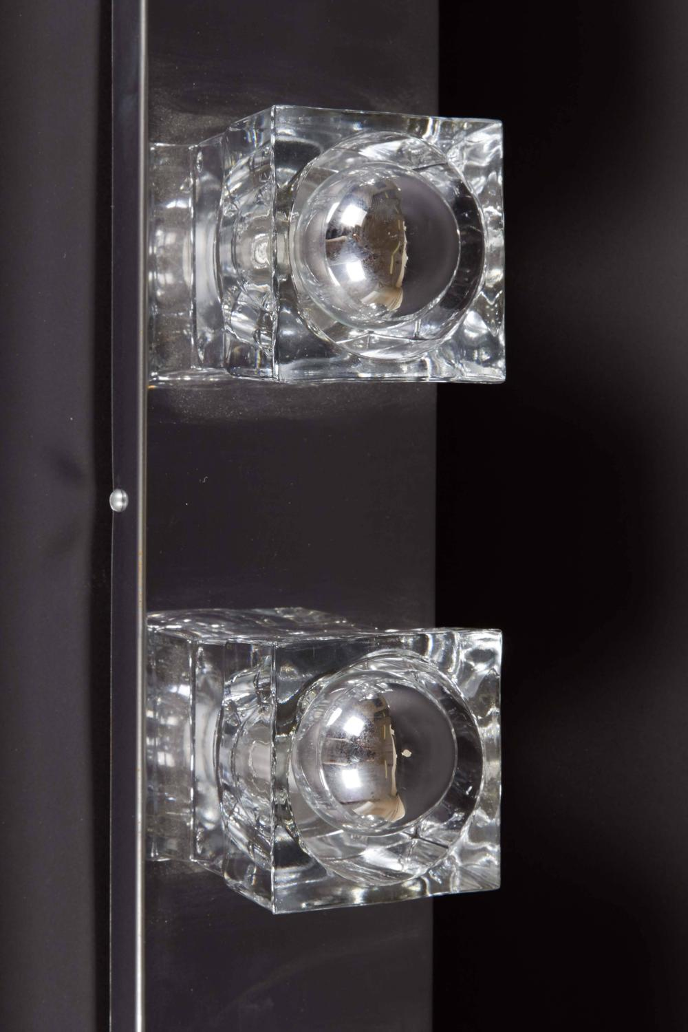 Cut Glass Wall Lights : Peill and Putzler Six-Light Chrome Wall Fixture with Cut Glass For Sale at 1stdibs
