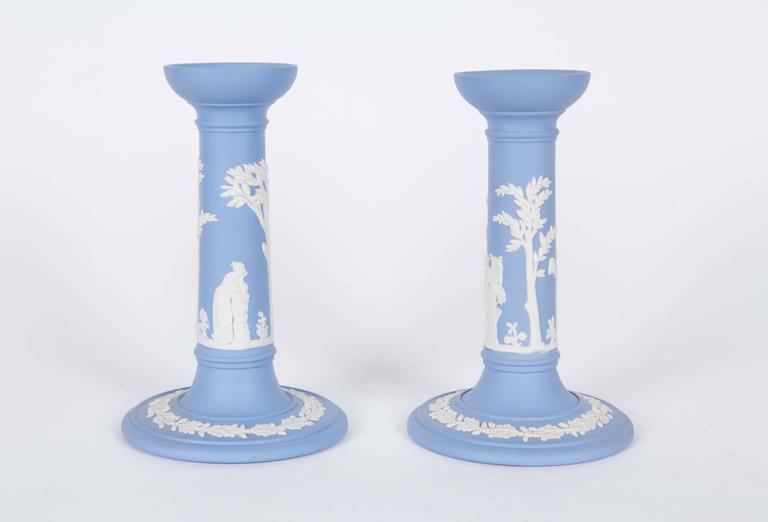 Porcelain Pair of Jasperware Candlesticks and Bowl by Wedgwood For Sale