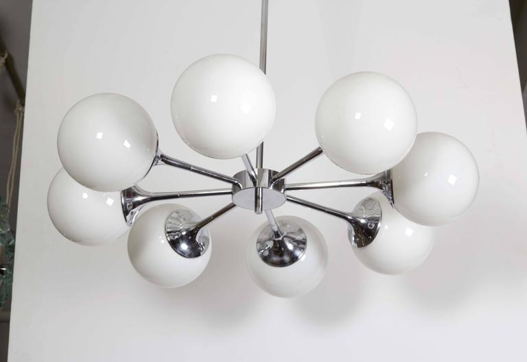 Pair of Lightolier Glass Globe Chandeliers in Chrome For Sale 1
