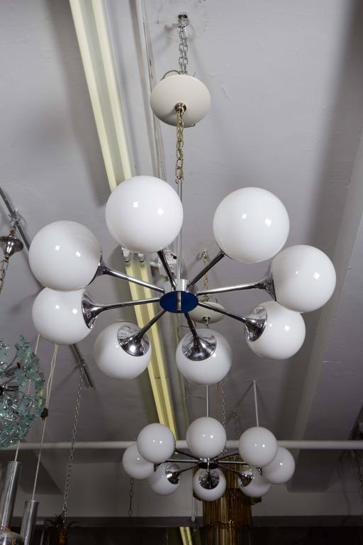 Pair of Lightolier Glass Globe Chandeliers in Chrome For Sale 2