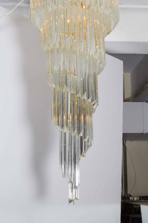 Cascading Chandelier with Crystal Prisms In Good Condition For Sale In New York, NY
