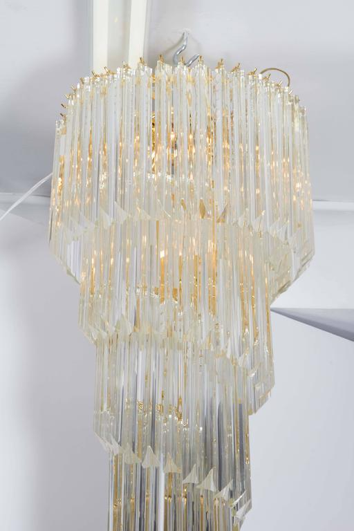 Brass Cascading Chandelier with Crystal Prisms For Sale