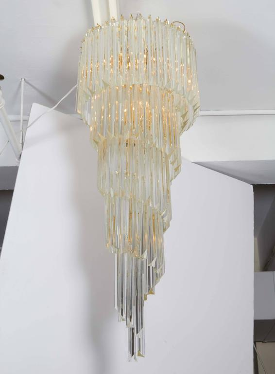 Cascading Chandelier with Crystal Prisms For Sale 1