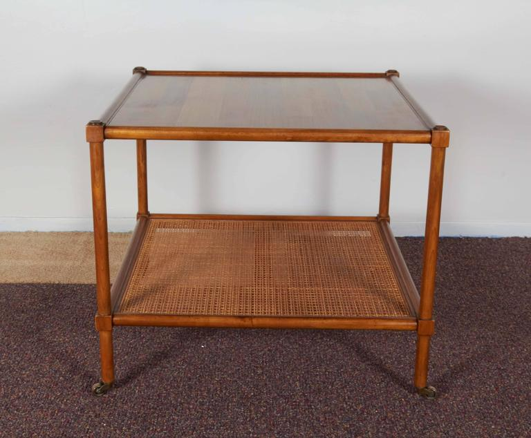 Pair Of Baker Rolling Tables With Cane Shelf At 1stdibs