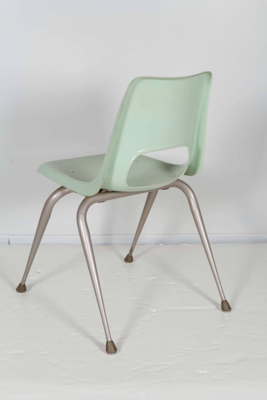 Set of Eight Brunswick Mint Fiberglass Chairs For Sale at
