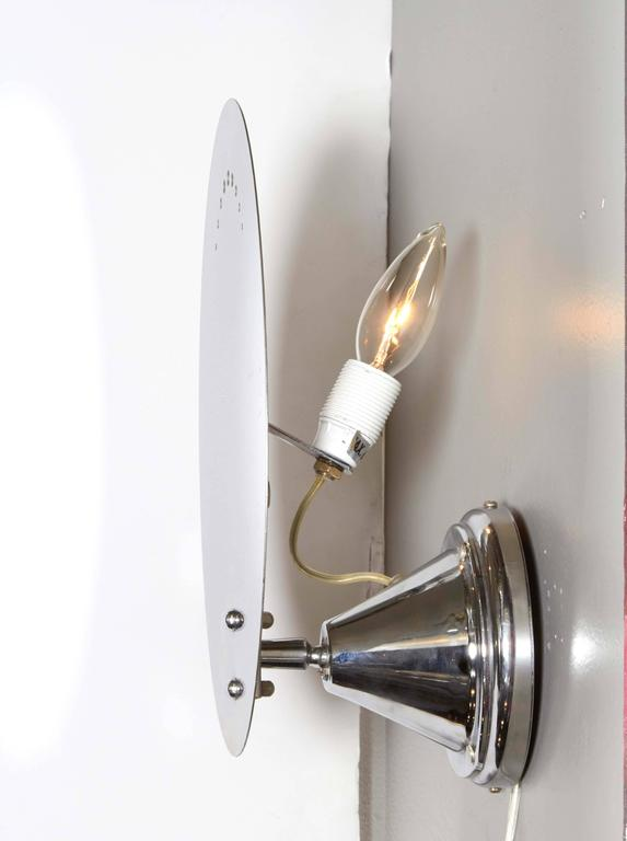 Mid Century Chrome Wall Sconces : Pair of Mid-Century Oval Chrome Wall Sconces with Perforated Detail For Sale at 1stdibs