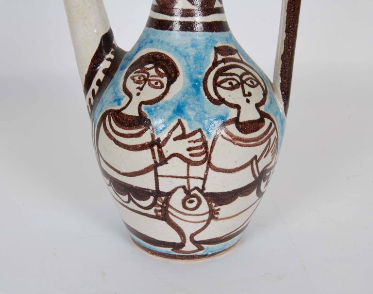 Pair of Giovanni de Simone Italian Glazed Ceramic Ewers For Sale 1