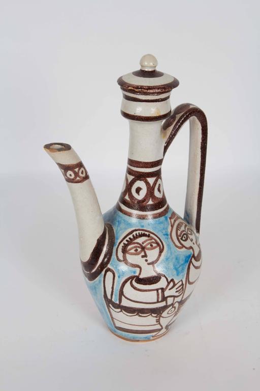Pair of Giovanni de Simone Italian Glazed Ceramic Ewers For Sale 2