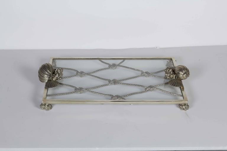 American Elegant Renaissance Revival Serving Tray with Nautical Theme For Sale