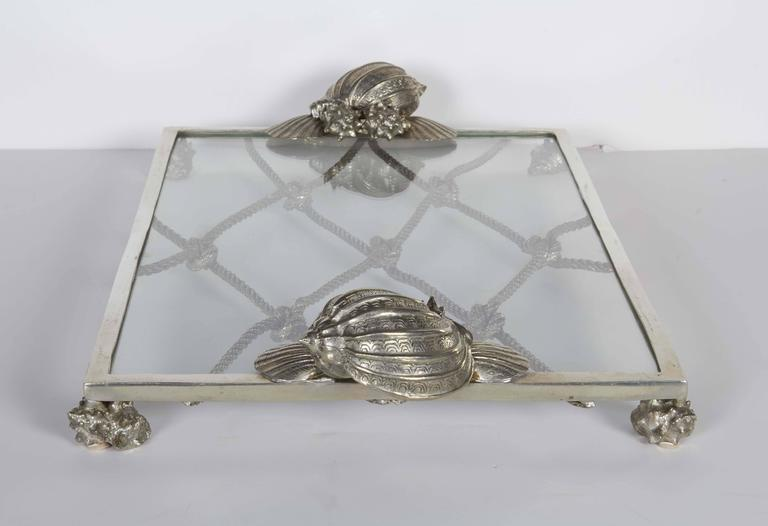 Organic Modern Elegant Renaissance Revival Serving Tray with Nautical Theme For Sale