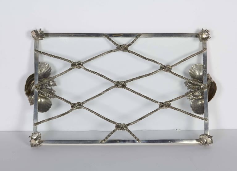 Glass Elegant Renaissance Revival Serving Tray with Nautical Theme For Sale