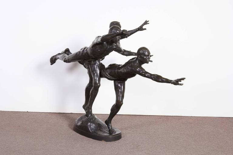19th Century Large and Important Bronze Sculpture of Three Runners by A. Boucher - Siot For Sale