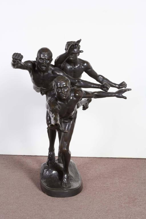 Large and Important Bronze Sculpture of Three Runners by A. Boucher - Siot For Sale 1