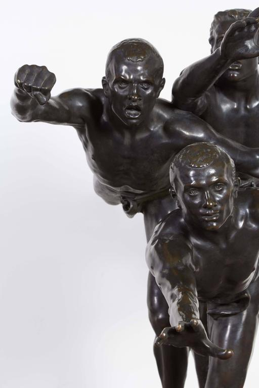 Large and Important Bronze Sculpture of Three Runners by A. Boucher - Siot In Excellent Condition For Sale In New York, NY