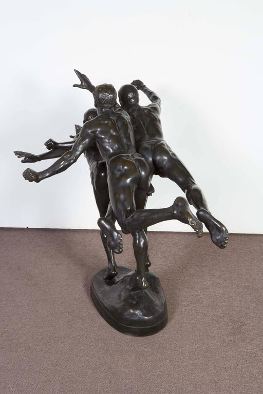 French Large and Important Bronze Sculpture of Three Runners by A. Boucher - Siot For Sale