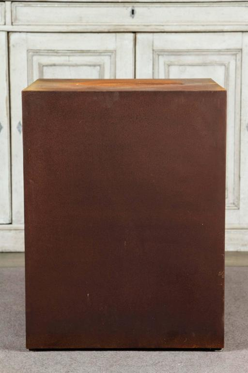 American Custom Metal Square Plinth With A Rusted Patina by Lee Stanton For Sale