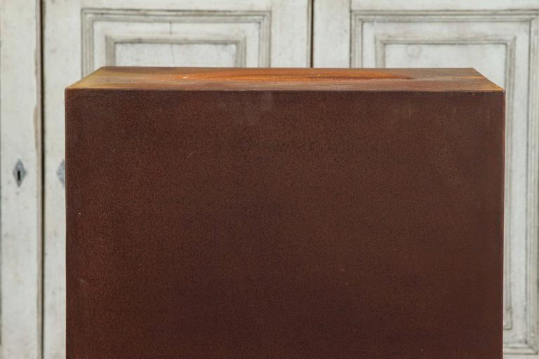 Custom Metal Square Plinth With A Rusted Patina by Lee Stanton In Good Condition For Sale In Los Angeles, CA