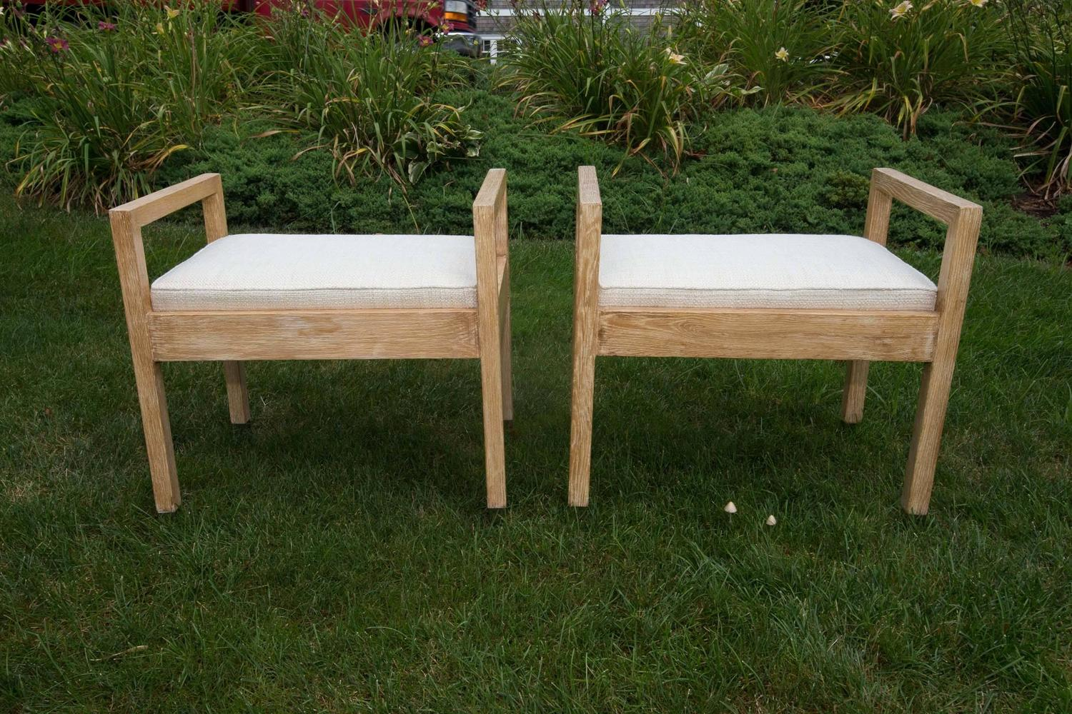 Pair Of Upholstered Wood Benches With Chrome Tip Legs For Sale At . Full resolution‎  image, nominally Width 1500 Height 1000 pixels, image with #2C3816.