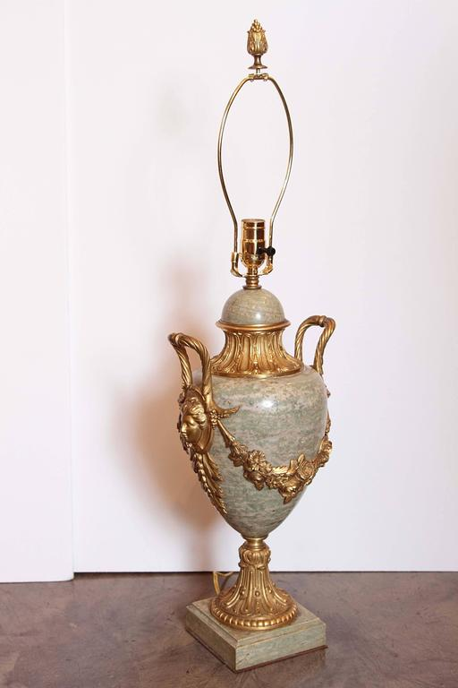 Pair of Beautiful Large 19th Century French Gilt Bronze and Marble Urn Lamps 9